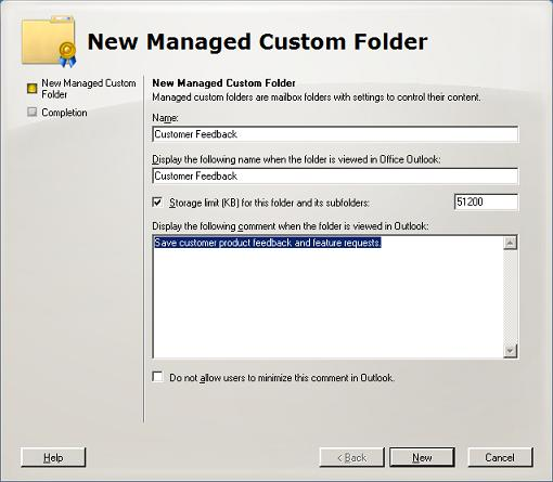 New Managed Custom Folder