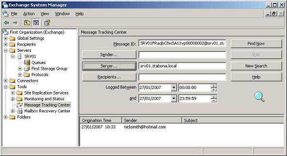 ExchangeInbox com - Using Message Tracking in Exchange 2003