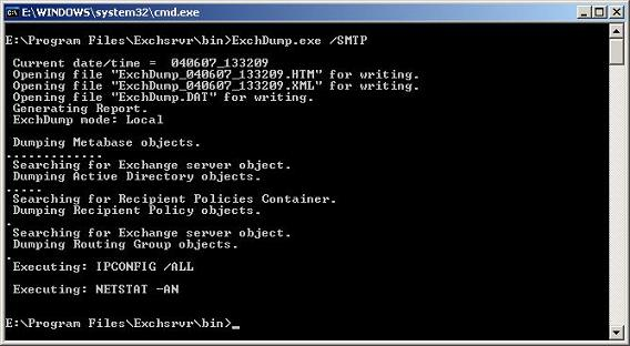 ExchDump.exe gathering SMTP information