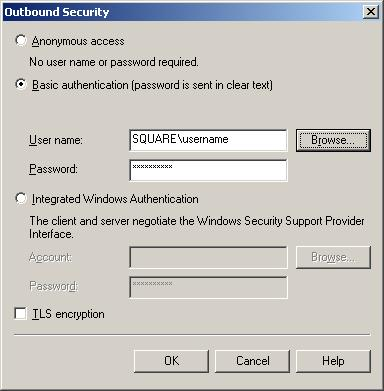 SMTP Virtual Server Outbound Security