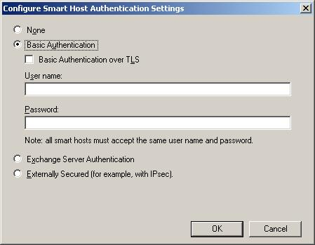 Send Connector Smart Host Authentication