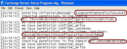 Permissions required by the Exchange Setup to update Active Directory