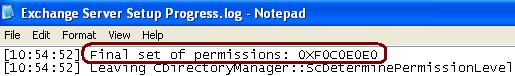 File Set of Permissions in the Log file