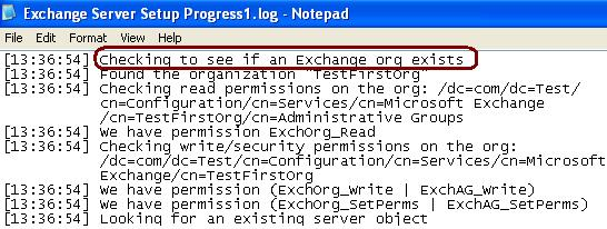 Checking Existing Exchange Organization and Verifying Permissions