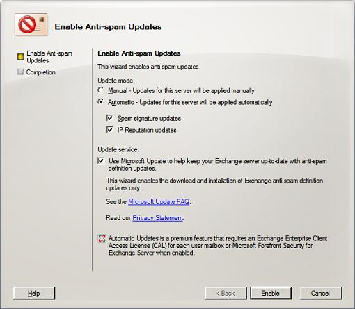 Enabling Updates Wizard