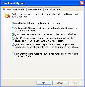 Outlook 2003 Junk E-mail Filtering