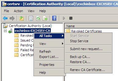 Exchangeinbox replacing the exchange 2007 self signed submit request mmc yelopaper