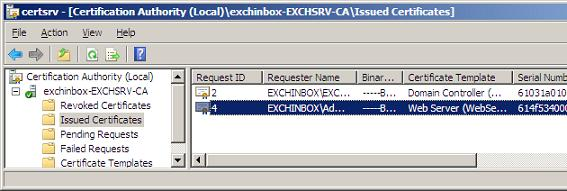 Exchangeinbox replacing the exchange 2007 self signed new certificate created yelopaper Choice Image