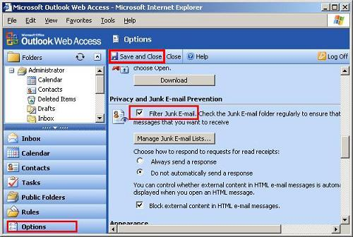 OWA Enable Junk Email