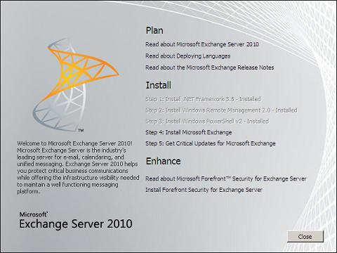 Exchange 2010 Installation Steps