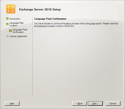 Language Pack Confirmation