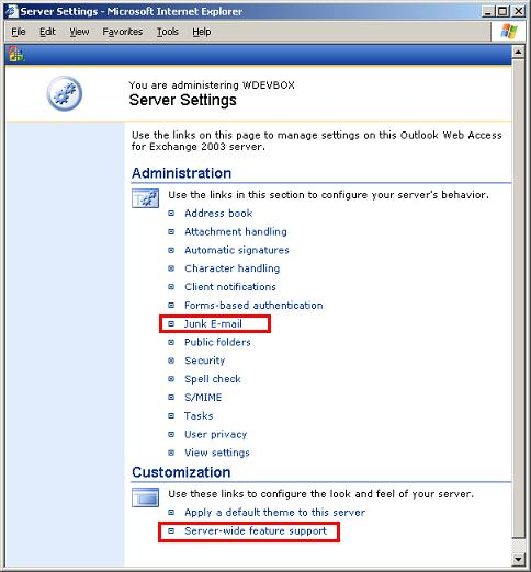 Outlook Web Access Web Administration