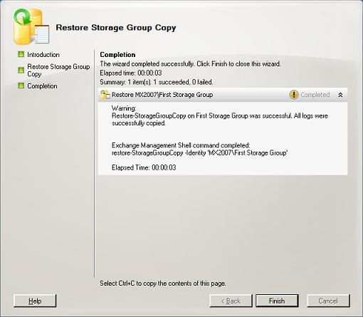 Restore Storage Group Copy Wizard