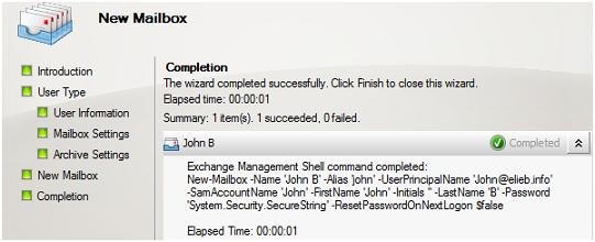 Creating a new mailbox from the Exchange Management Console