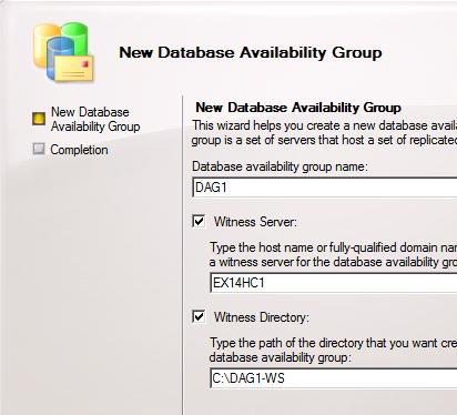 New Database Availability Group - Configuration