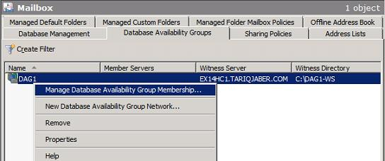 Manage Database Availability Group Membership
