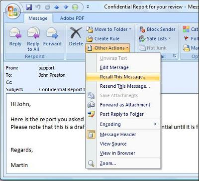 How To Recall An Email >> Exchangeinbox Com Recalling Emails From Outlook 2013 2010 2007 2003