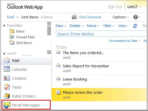 ExchangeInbox com - Recalling Emails Directly from Outlook Web