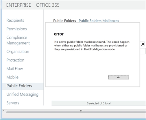 Exchange 2013 | Public Folders | No active public folder mailbox